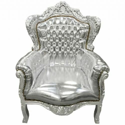 ARMCHAIR - BAROQUE STYLE ARMCHAIR SILVER / SILVER # F30MB150